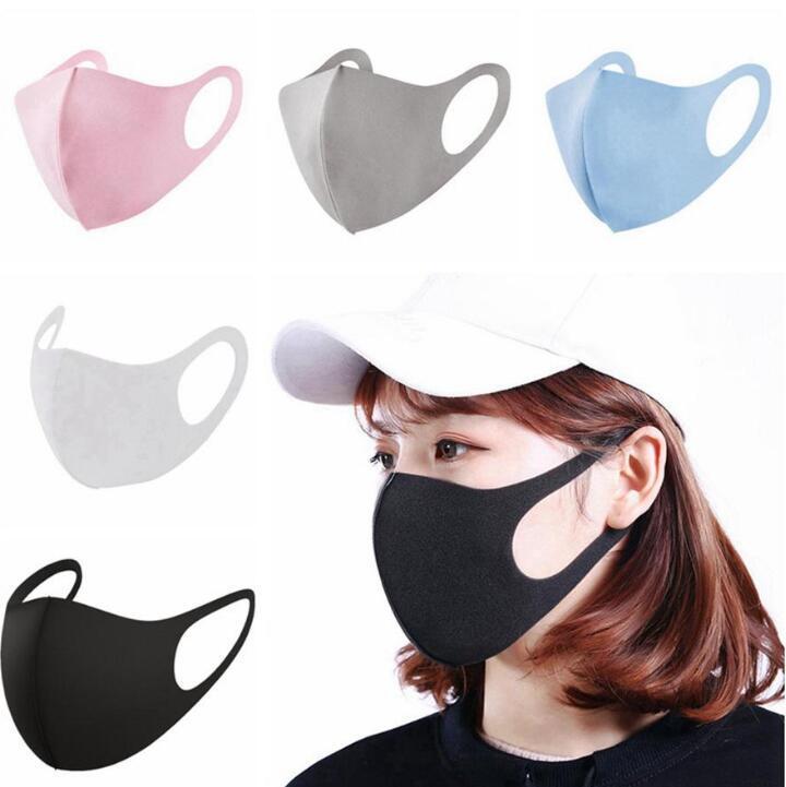 4 colori della polvere Viso Bocca copertura Adult Children PM2.5 Designer maschera respiratoria antipolvere antibatterico lavabile riutilizzabili Maschere del ghiaccio di seta