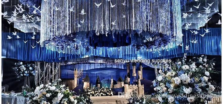 new style clear crystal hangging crystal background wedding hall decoration senyu0119