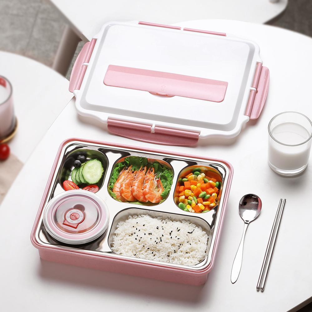 oneisal Lunch Box Stainless Steel Portable Picnic Office School Food Container With Compartments Thermal Bento Box Y200429