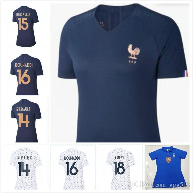 새로운 19 20 월드컵 파란색과 흰색 프랑스 여성 축구 저지 여성 POGBA Camiseta 드 푸 웃 뎀 벨레 MbappE KANTE 축구 유니폼 셔츠