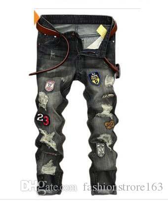 Heißer Verkauf! Arbeiten Sie Weinlese Mens zerrissene Jeans-Hose Slim Fit Distressed Hip Hop Denim COOL Male Neuheit Street Jean Hosen Hot Sale