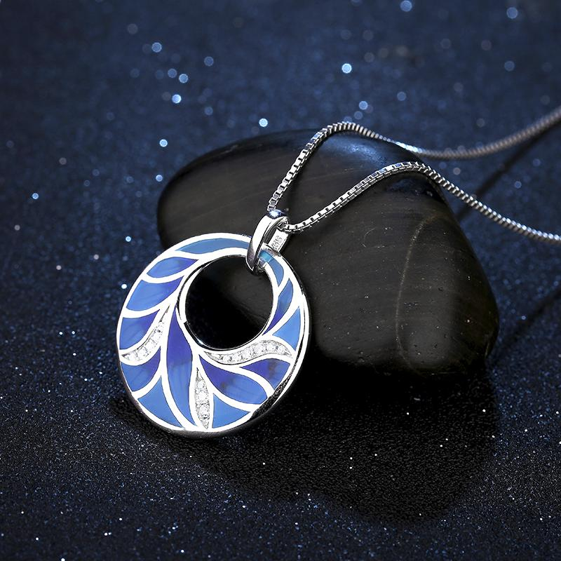 Fashion-Peacock Feather 2018 Hot sale Fashion Enamel Women Jewelry Pendant Necklace Real 925 Sterling Silver Charms Zirconia Party