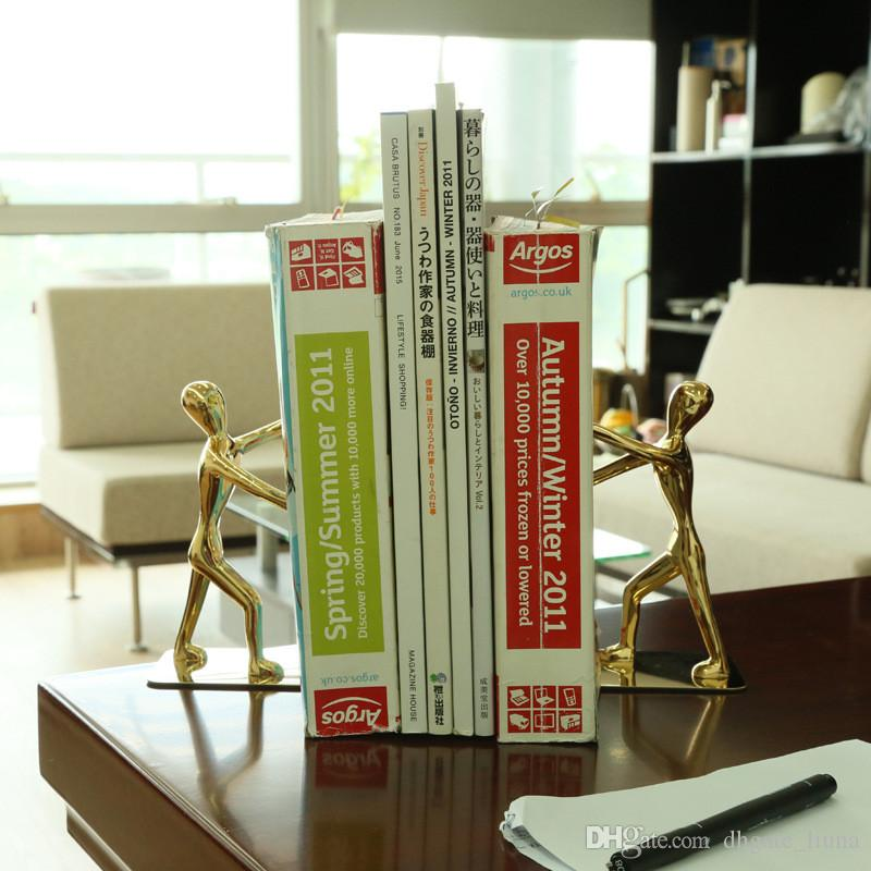 2019 Heavy Duty Zinc Alloy Man Decorative Bookends Nonskid Metal Book Ends For Shelves Book Support Book Stopper For Books Magazines From