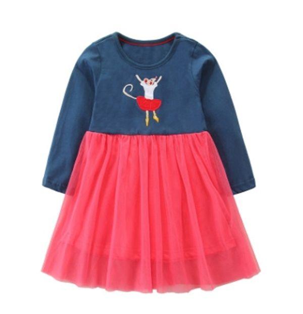 2019 European and American style girls' dress autumn new mesh princess skirt cartoon lovely lace children's skirt