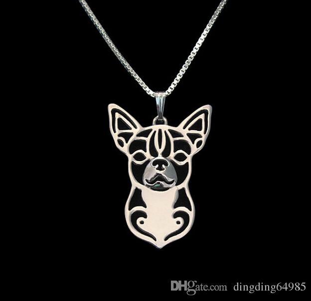 Venda por atacado Chihuahua Colar 3D Cortar Filhote de Cachorro Amante do Cão Pingente Memorial Colares Pingentes Presente de Natal