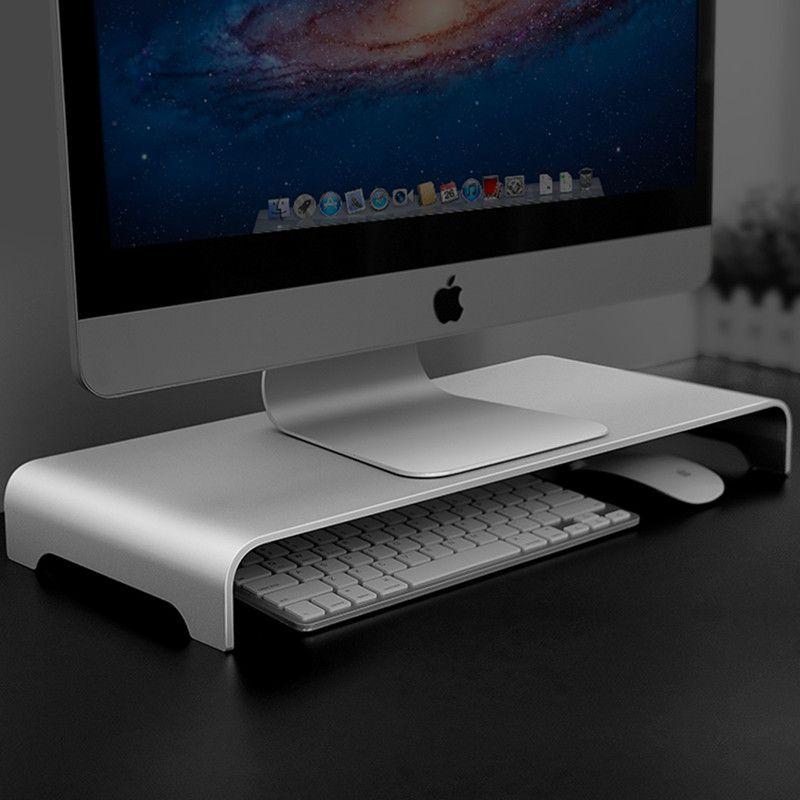 Aluminio soporte del monitor del ordenador Riser Steady Organizador de escritorio de metal universal de soporte de la base hasta 27 pantallas pulgadas para MacBook / Pro iMac Titular / TV