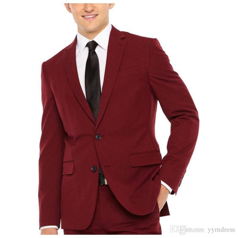 Burgundy Groom Tuxedos 2019 revers crantés Meilleur Costume Homme Costumes De Mariage Costumes Hommes concepteur blazers 4 pièce (Veste + Pantalon + Gilet + Cravate)