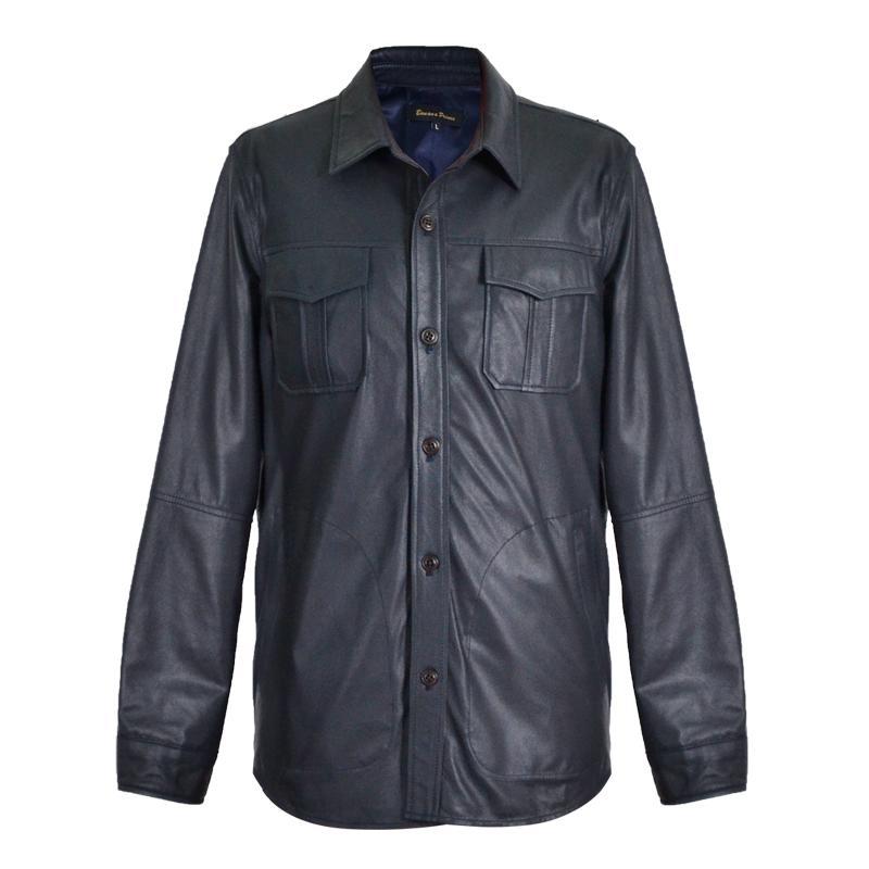 2020 uomini blu Slim Fit Camicia in pelle monopetto Large Size XXXL autentico sottile pelle di pecora russo Primavera Casual Camicia naturale