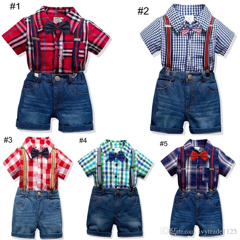 Gentleman Boy Kids clothing Baby summer sets Plaid Print turn down collar short sleeve Shirt + short sets summer boy clothing sets