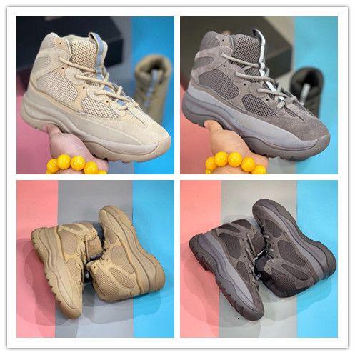 С Коробкой Kanye West Rock Oil Desert Boot Соль Приходит Румяна Утилита Черный Супер Луна Желтый Мужчины Кроссовки На Открытом Воздухе Обувь