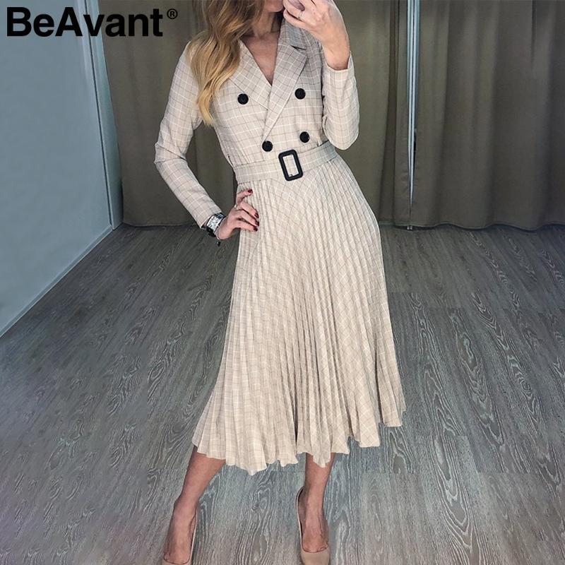 BeAvant V-образным вырезом плед блейзер платье женщины с длинным рукавом элегантные плиссированные платья офис дамы пояс 2019 осень зима vestidos халат