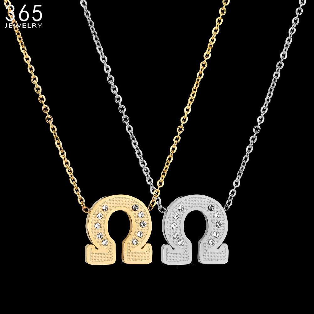 Simples moda jóias de prata da cor Ohm colar de pingente de aço inoxidável Matemática Símbolo Colar para o aniversário NiYPd presente
