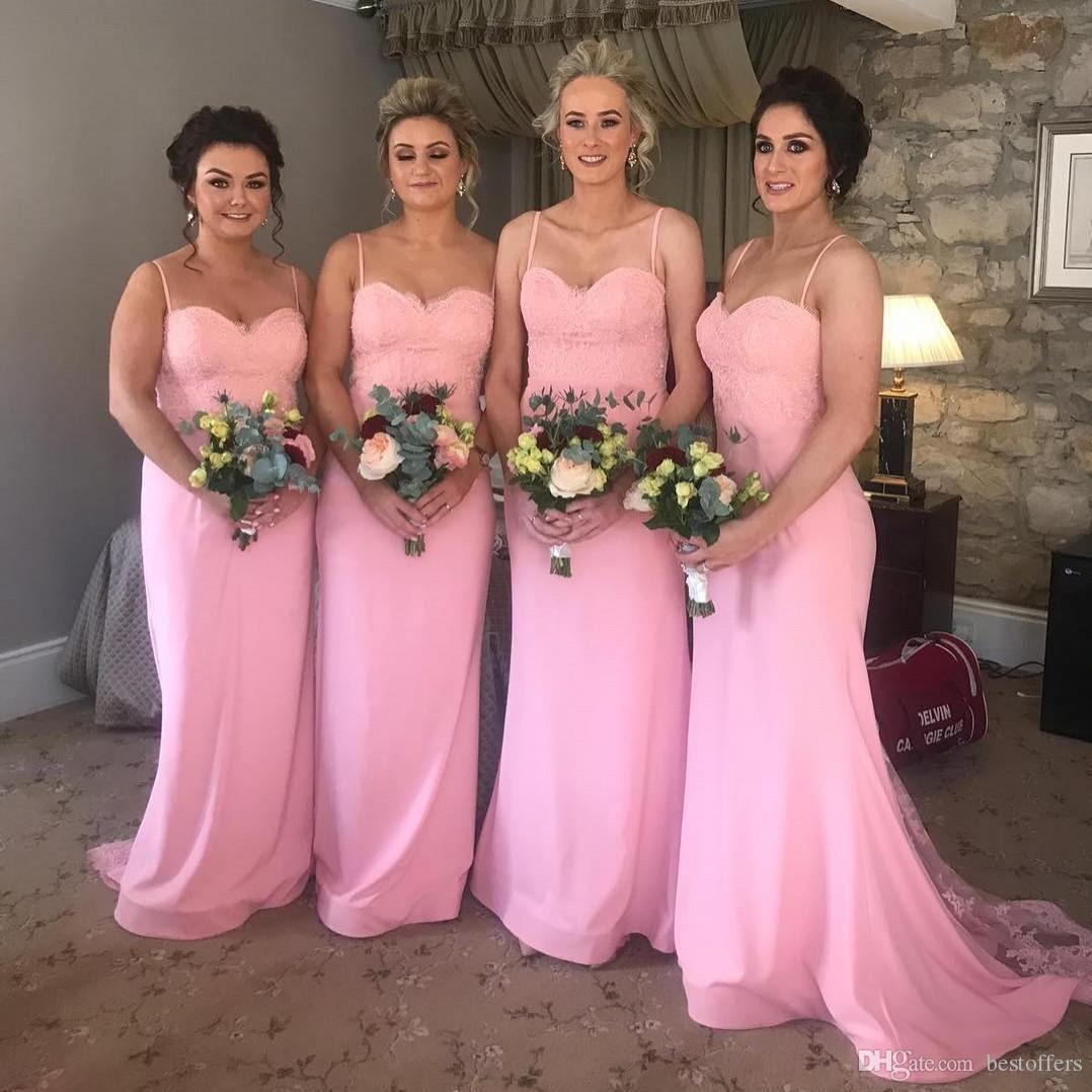 Baratos rosados largos damas de honor vestidos 2019 con cuentas encaje apliques criada de honor vestidos junior dama de honor vestidos de playa de verano