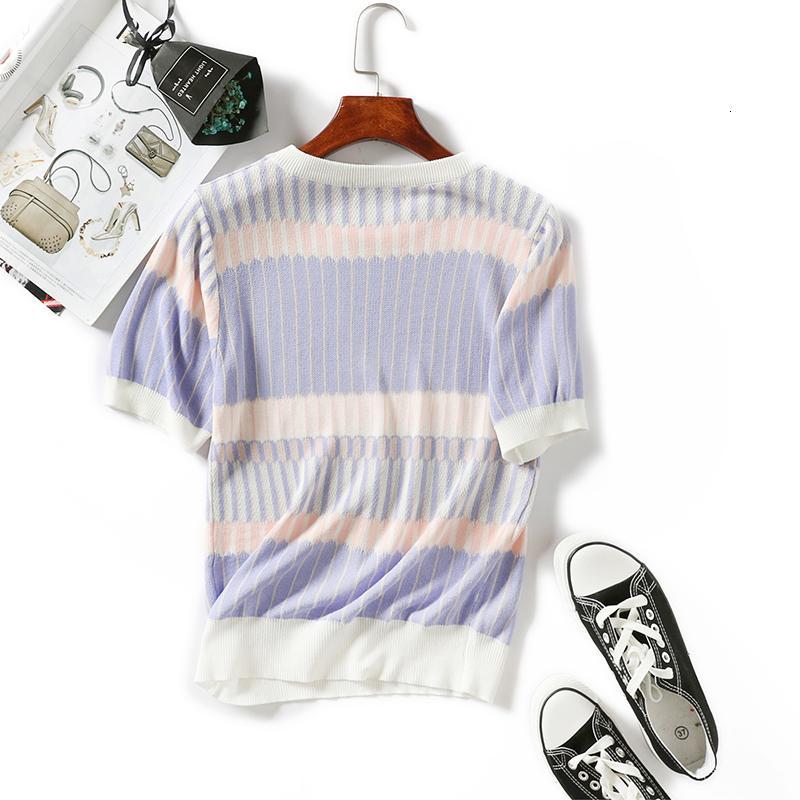 Donna Shirt Donna Top maglietta di estate Donne girocollo in maglia maniche corte Tee Shirt alta elasticità superiore respirabile femminile Patchwork