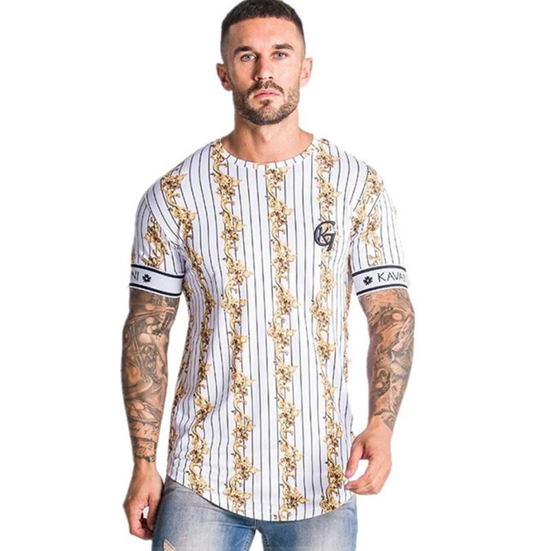 Casual Men T-Shirt Stripe Summer Man Tshirt Fashion Tops Streetwear Male T -Shirts Hip Hop Brand Clothing Mens Tee T Shirt Men M-2XL