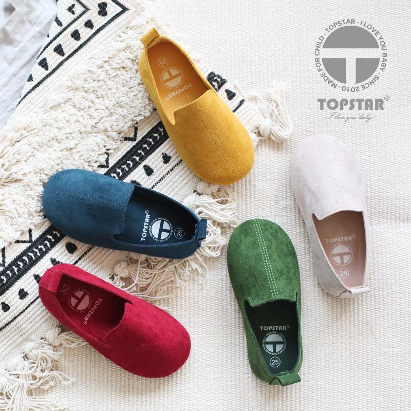 Kinder Schuhe aus weichem Leder Pelz Schuhe Baby Mädchen 6 Farben 2018 Frühlingsmode Kinder Erbsen Schuhe Casual Jungen zu Fuß Hohe Qualität