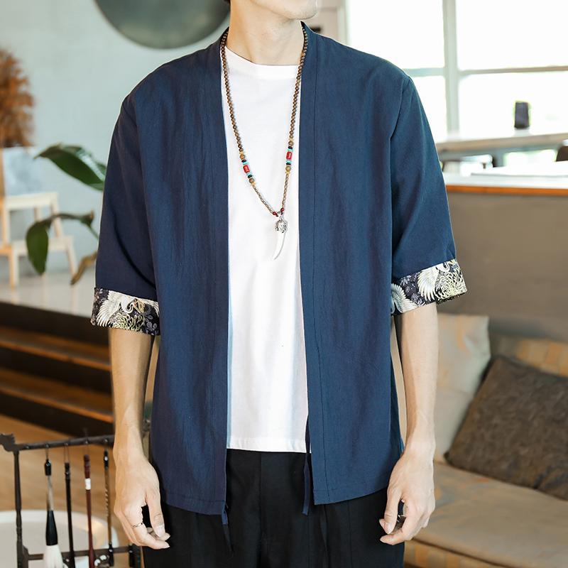 Japonais Type de Plus Size Hommes Kinono Shirt manches demi d'été Streetwear Chemises hawaïennes hommes style chinois Vêtements Vintage circuitent