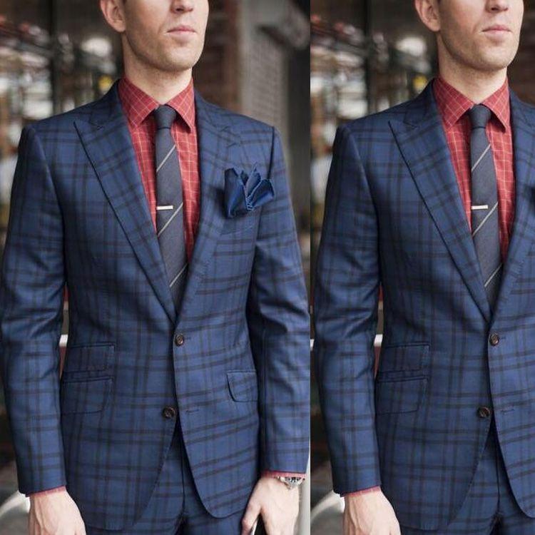 British Mens Wedding Tuxedos Classic Plaid Peaked Lapel Groom Pants Suits Fashion Man Blazer Jackets 2 Pieces
