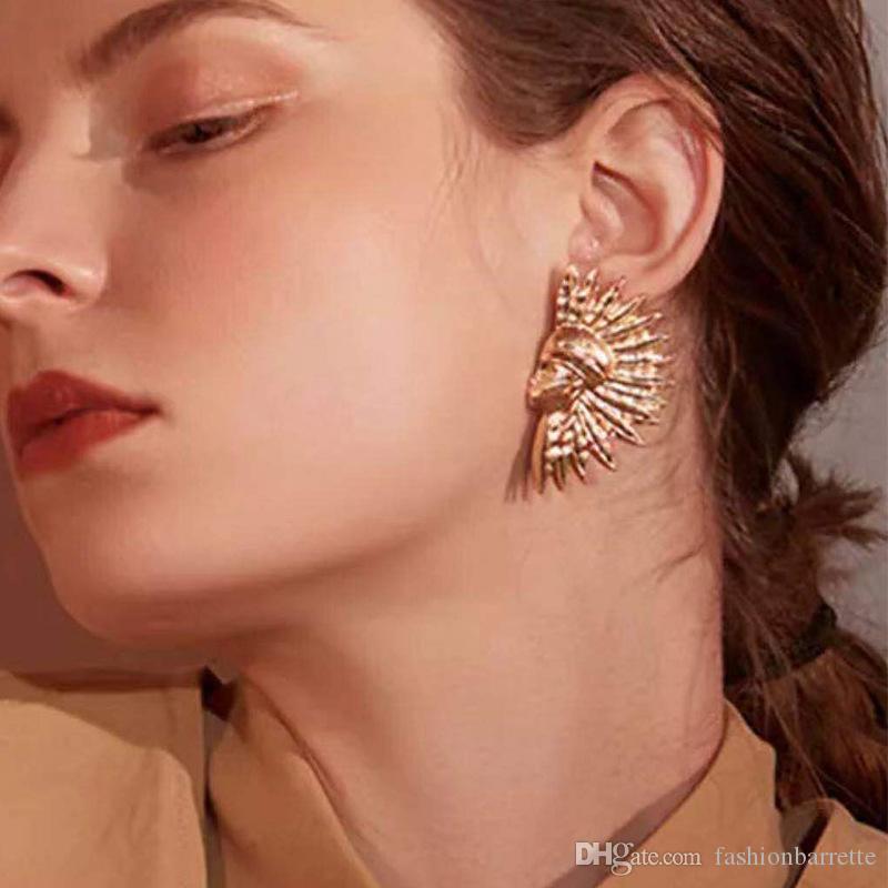 Indien-förmigen großen goldenen minimalistischen Temperamenta Ohrringe für Frauen Punk elegante Aussage niedlichen lustigen kleinen weiblichen Schmuck