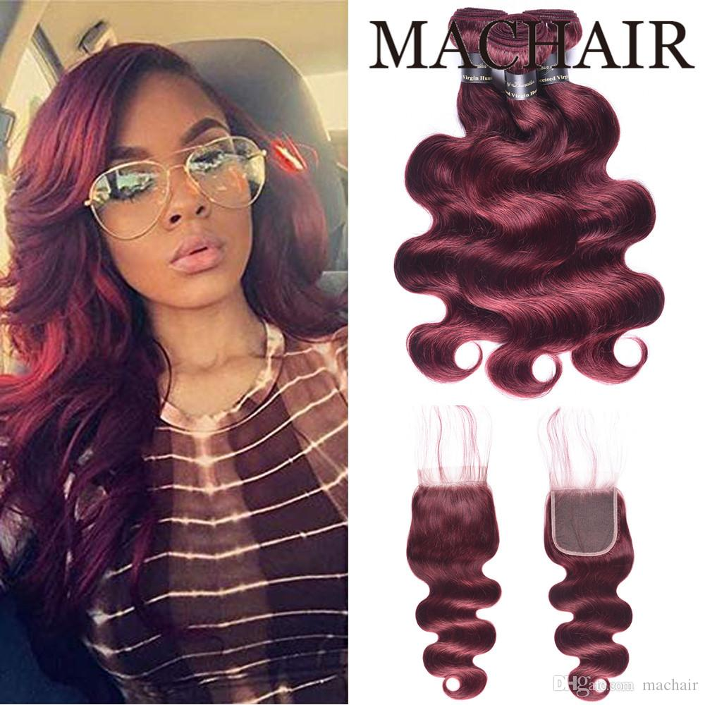 99J/Burgundy Red Color Brazilian Body Wave With Closure 3/4 Bundles Human hair Weave Lace closure Cheap Human Hair Bundle With Closure