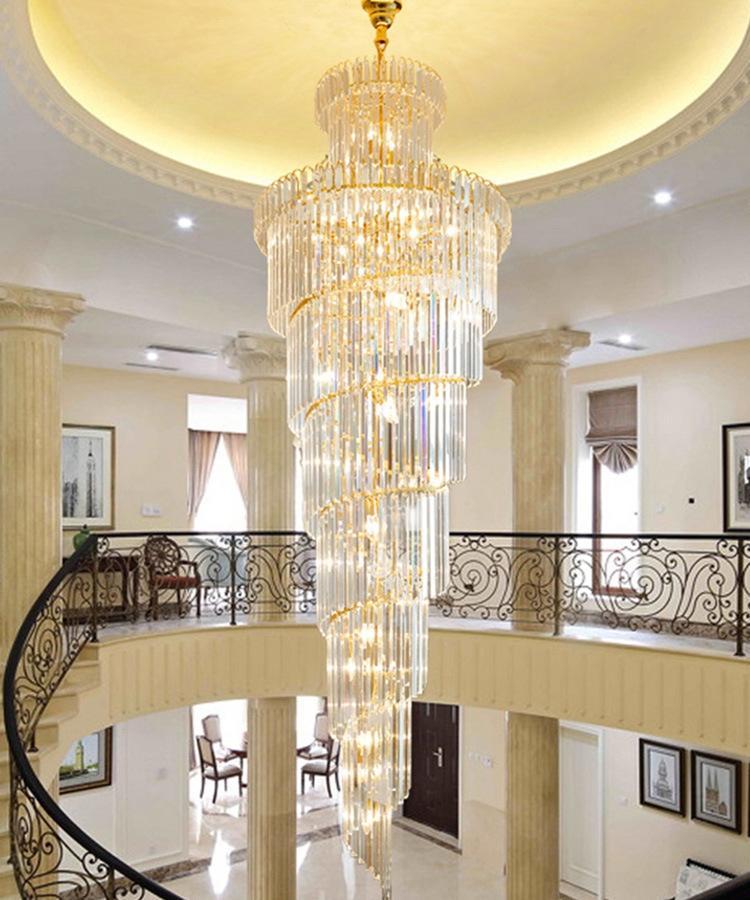 Lampadario di cristallo moderna villa salone Lampade a sospensione semplice cavo costruzione soffitto piano intermedio luci lusso di illuminazione lungo lampadario