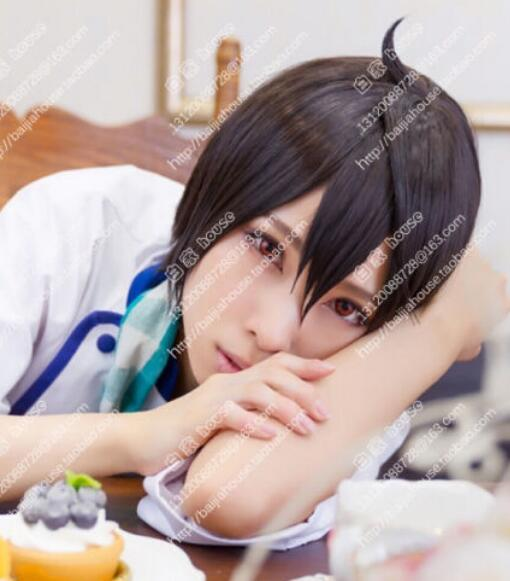 FREE SHIPPING + ++ 코스프레 가발 앙상블 별 사쿠마 릿츠 다크 브라운 짧은 머리 일본 가발 가발