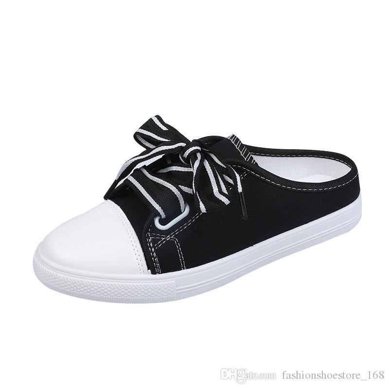 Düz Açık Terlik 2019 Yeni Beyaz Ayakkabı kadın Temel Vahşi Düz Topuk Olmadan Yarım Terlik Bir Pedal Kanvas Ayakkabılar Kadın Tembel ayakkabı