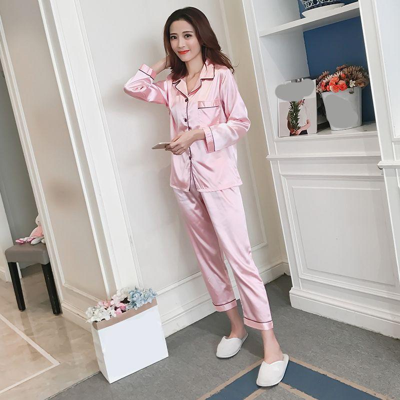 Пижама шелковые пижамы для женщин атласные Женские пижамы наборы с длинными рукавами отложной воротник карманный декор топ + брюки шелк