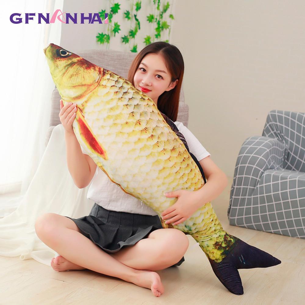 60/75/100/120cm 3D Simulation Carp Plush Toys Staffed Soft Animal Fish Plush Pillow Creative Sofa Pillow Cushion Gift Kids Toy Y200111