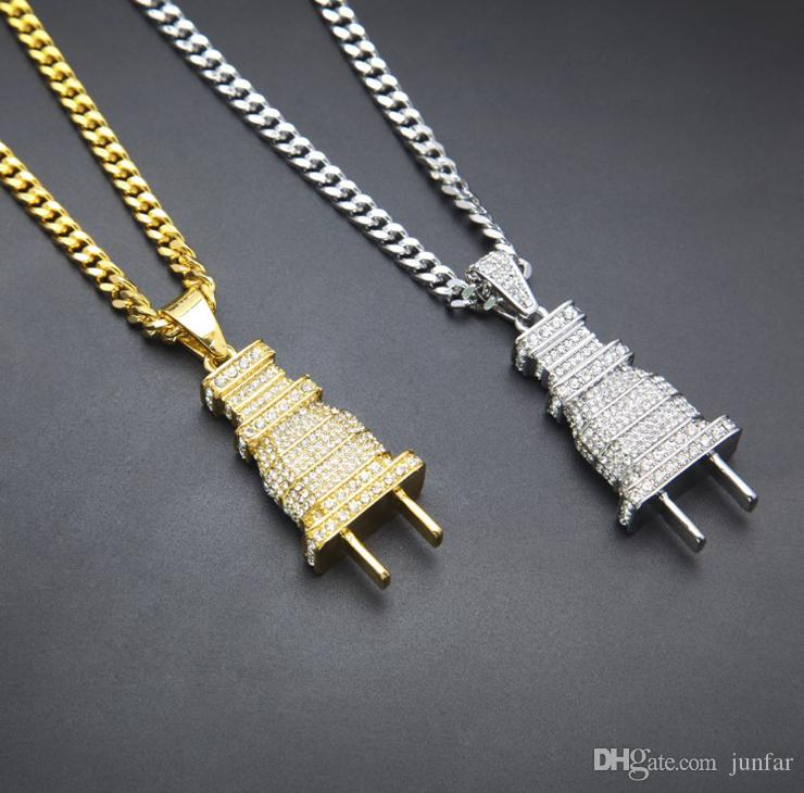 Klasik Fiş kolye altın kaplama Buzlu Out erkek Fiş Kolye Kolye Kaplama Charm Mikro Açacağı Tam Rhinestone Küba Zincir erkekler jewerly