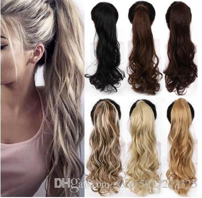 """22"""" Long Wavy Wrap Around Clip In Ponytail Hair Extension Heat Resistant Synthetic Natural Wave Pony Tail Fake Hairpieces"""