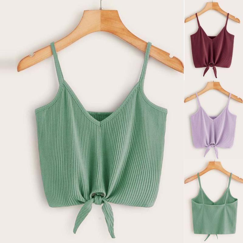 CHAMSGEN Hauts Vêtements pour femmes 2020 Couleur unie manches Knot Hem Crop Cami Gilet mode sexy court Débardeurs Ropa Mujer F522