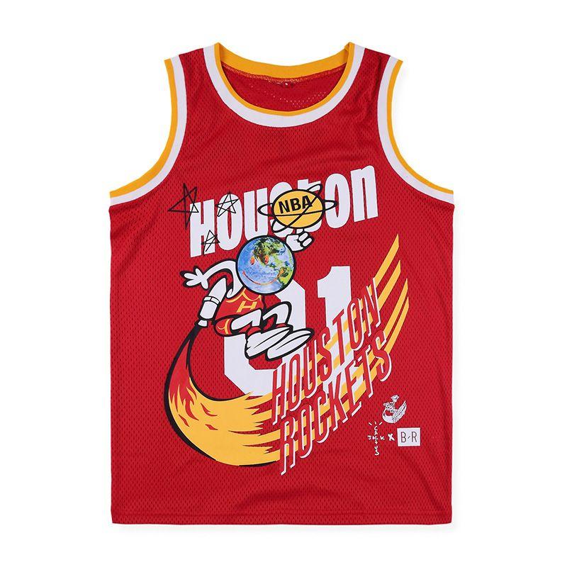 2020 hommes haute marque de tendance de la marée de la rue Travis Scott x BR x M N Rockets Jersey jersey joint nouvelle veste de qualité européenne et américaine haute