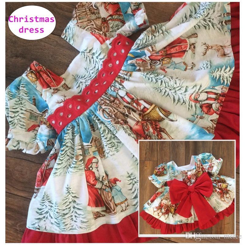 Mädchen Boutique Weihnachtskleid Kleinkind Mädchen Rotes Kleid mit langem Druck Kinder Kurzarmball gewachsen für 0-6T