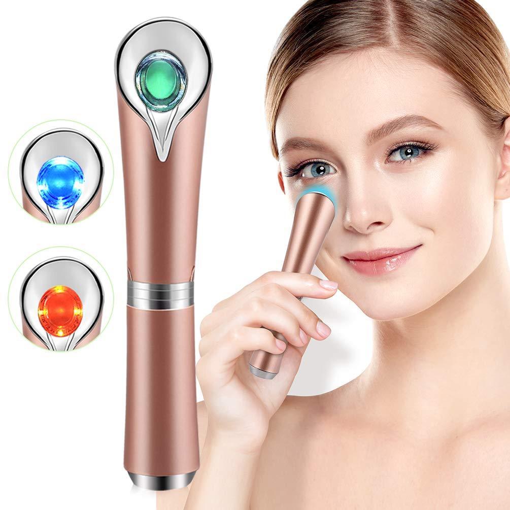 مدلك العين العصا مع الاهتزاز سونيك الحرارة للهروب الداكنة والانتفاخ والعينات التعب، المضادة للتجاعيد، تدليك الوجه القابلة لإعادة الشحن USB