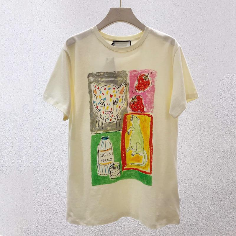 Free Shipping 2020 Summer Rice White Mouse Print Summer Women's T-Shirt Brand Same Style Women's T-Shirt 031405