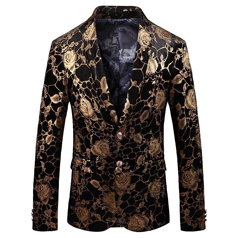 Trajes de hombre Blazers Blazers Wear Slim Fit Fit Pequeño traje Moda Impreso en una chaqueta de escenario