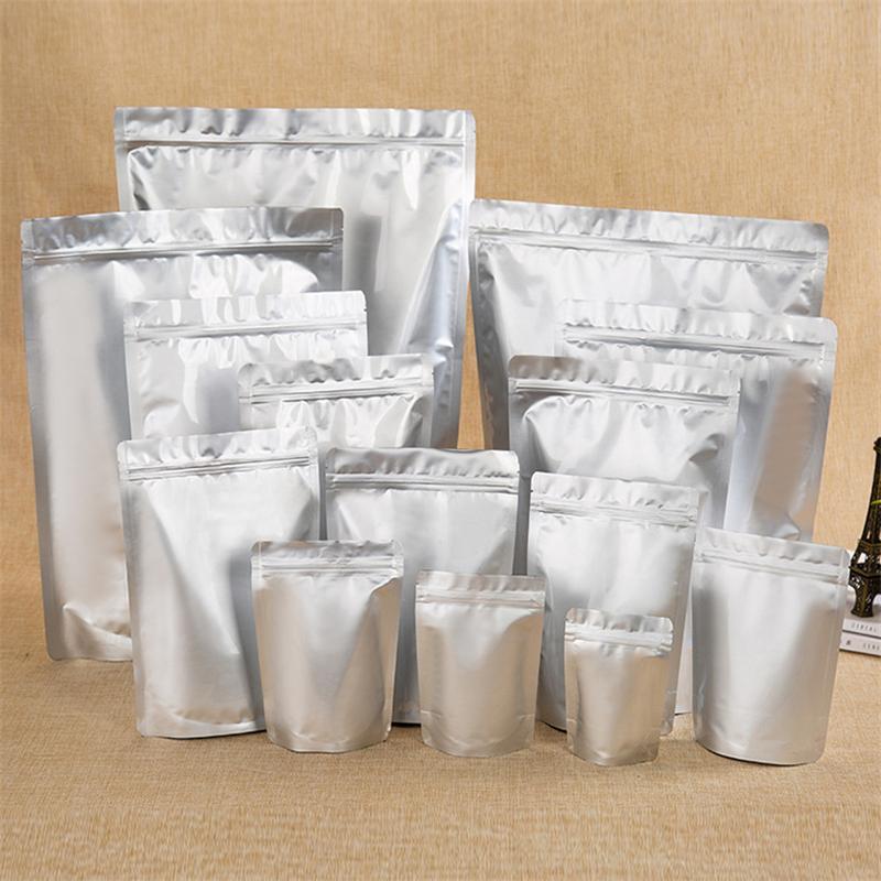 Lote 100pcs Beans Stand-up Pure Folha de alumínio saco de alumínio presente do café embalagem Bag sunproof impermeáveis Folha Nuts Pacote Pouch A05