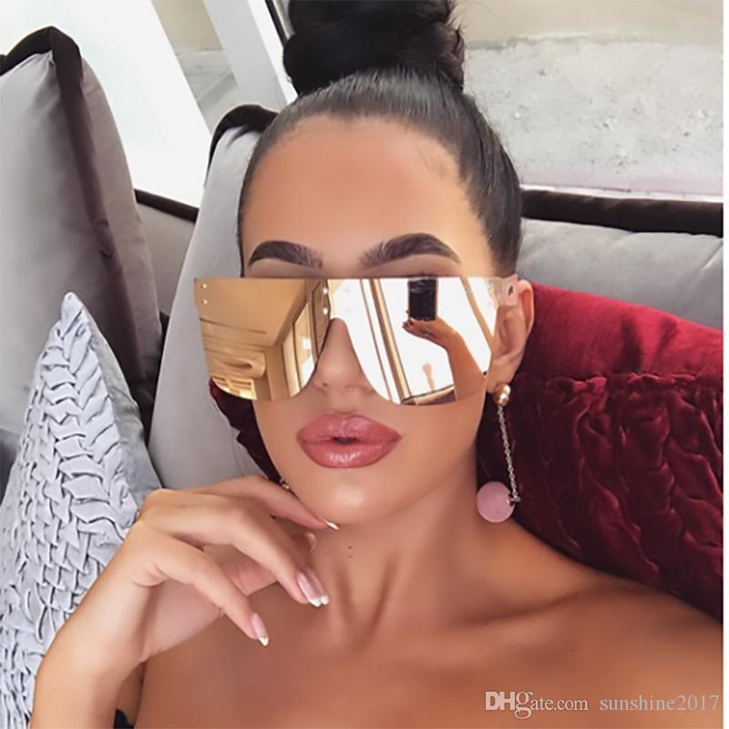 2019 Moda Benzersiz Ayna Kare Güneş Kadınlar Erkekler Lüks Tasarımcı Boy Yansıtıcı Pembe Gözlük Kadın Gözlük UV400 Gözlük