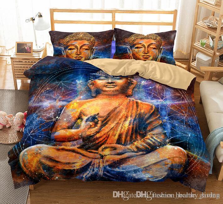 ABD AU Boyutu 3 adet Lüks Yatak Seti Yorgan Buda Baskılı yatak Örtüsü Set Kral Boyutları Gizemli Kültür Nevresim Seti Yatak Malzemeleri 666