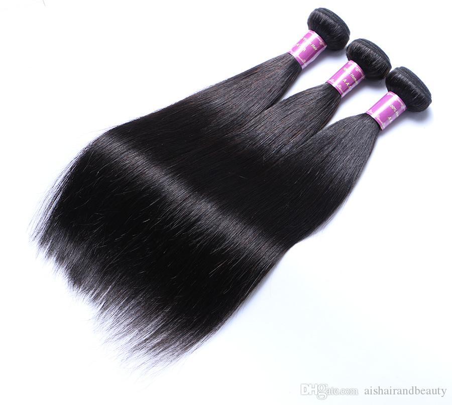 Proste 3 Wiązki Naturalne 1b Kolor Brazylijski Dziewiczy Ludzki Włosy Uwagi Full Head Indian Peruwiańskie Malezyjskie Przedłużanie Włosów