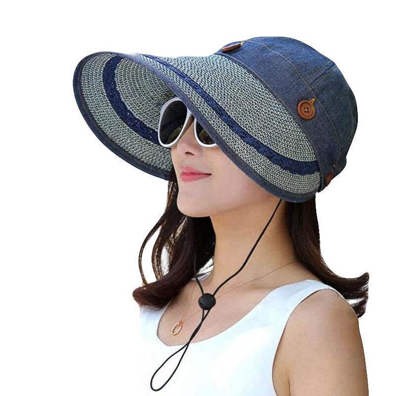 BINGYUANHAOXUAN Hats Women Large Wide Brim Floppy Summer Beach Sun Hat Cap Button Straw Hat Summer Hats For Women Anti-UV Visor