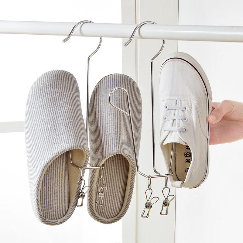 Varanda de Aço Inoxidável Ganchos Duplos Sapatos Cabide, Sapatos Cremalheira de Secagem Sapatos Criativos Pendurado Sol Cachecol Gancho Casa Organizador De Armazenamento Com 2 Clipe