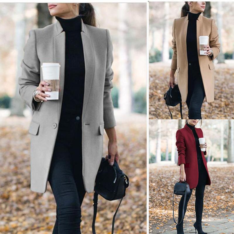Winter Coats and Jackets Women 2020 Plus Size Long Wool Coat Warm Korean Elegant Vintage Coat Female Cloak Cape Khaki Jacket