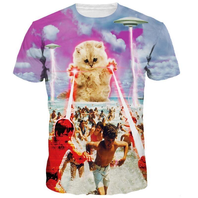 Cloudstyle 3D tişört Erkekler Giysiler 2020 3D Terör Lazer Kedi UFO 3D Print Komik Tişörtler Gömlek Kısa Kollu Streetwear Yaz Y200409 Tops