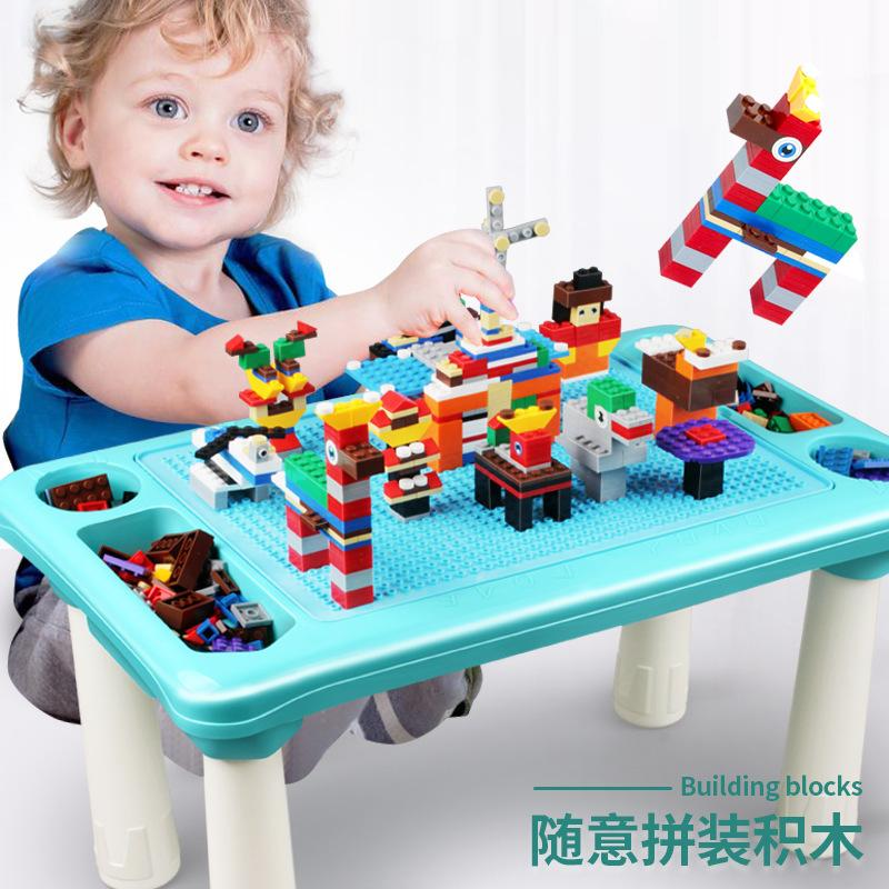 Small particle assembly building block multifunctional childrens building block table learning table creative puzzle multifunctional game