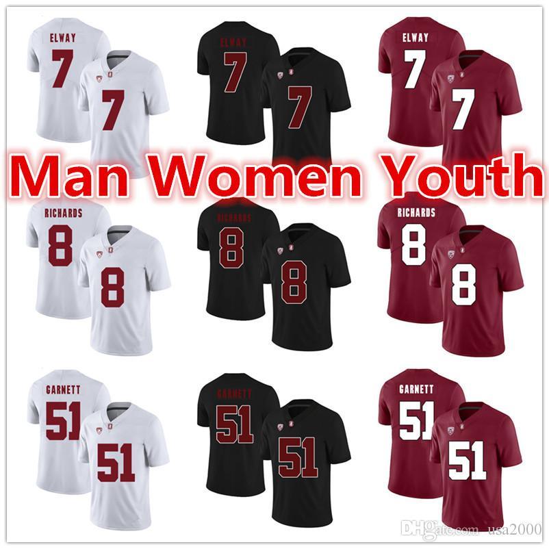 su misura NCAA Stanford calcio maglie John Elway 7 Richards 8 Joshua Garnett 51 Maglia qualsiasi dimensione numero nome S-5XL