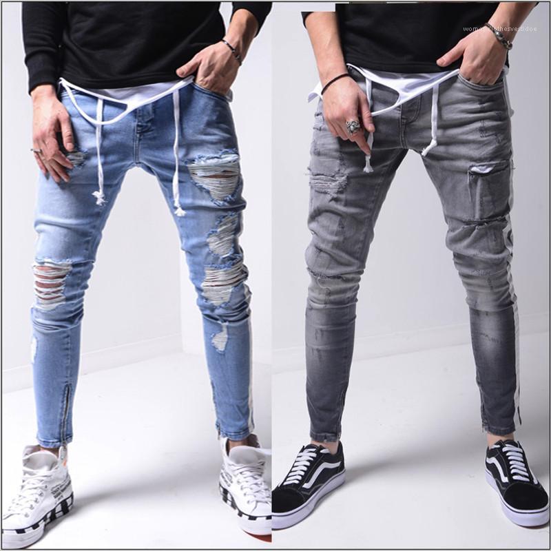 Designer-Jeans aus gewaschenem Ripped Bleistift-Hosen Zufälliger Streifen-Patchwork-Hosen Teenager Street Hip Hop-Männer