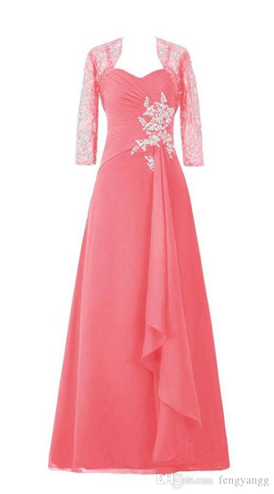 Elegant Beaded Mother of the Bride Dresses Long Sleeves Ruffles Pleats Floor Length Formal Party Prom Dresses Mother of the Groom Dress