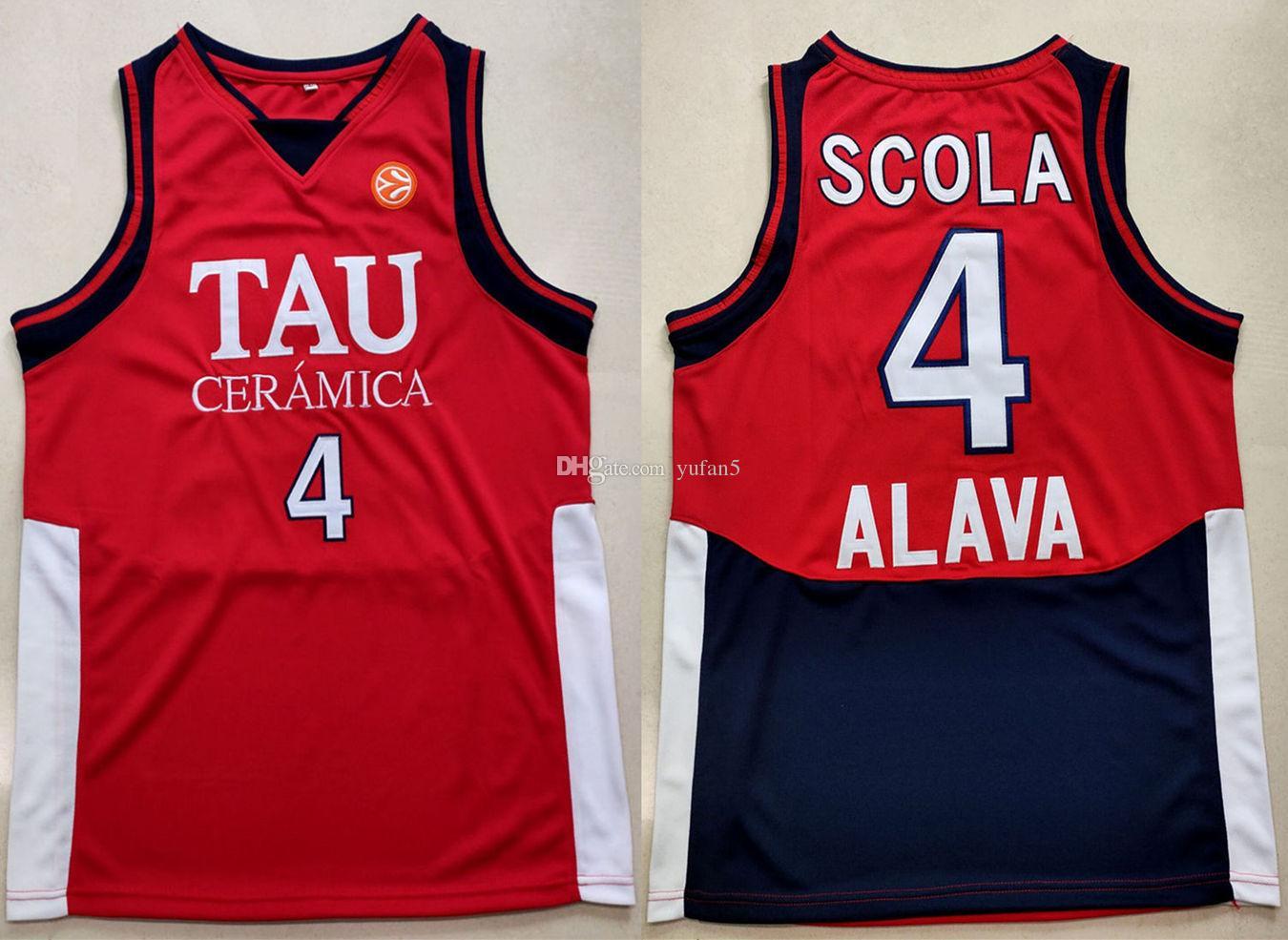 Luis Scola # 4 Tau Ceramica Retro Maglie da basket Cucite su ordinazione Qualsiasi numero di nome